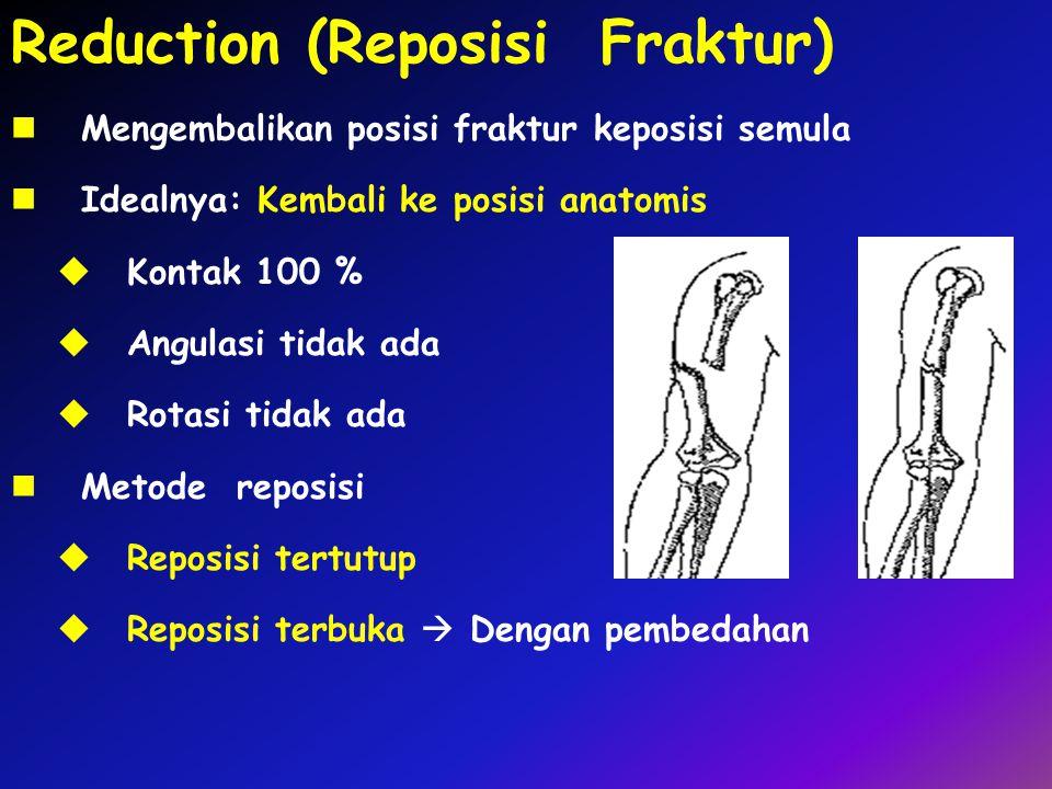 Reduction (Reposisi Fraktur) Mengembalikan posisi fraktur keposisi semula Idealnya: Kembali ke posisi anatomis  Kontak 100 %  Angulasi tidak ada  R