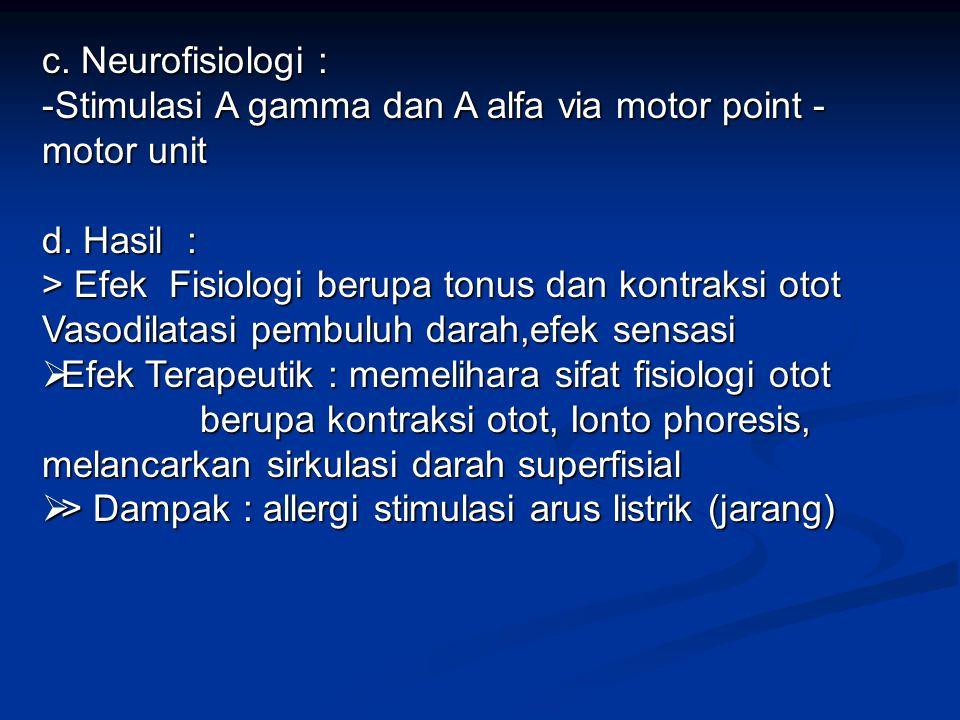 5. Galvano Therapy : a. Fisika dasar : - Arus rendah searah ( DC) - Arus rendah searah ( DC) - None frequens - None frequens - Durasi 0,1 – 3 ms. - Du