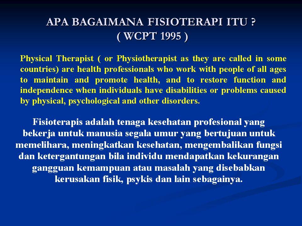 Perbedaan pandang secara filosofis, mencari identifikasi jati diri ? ( World Confederation for Physical Therapy - 1990 ) Apa yang menjadi garapan Fisi