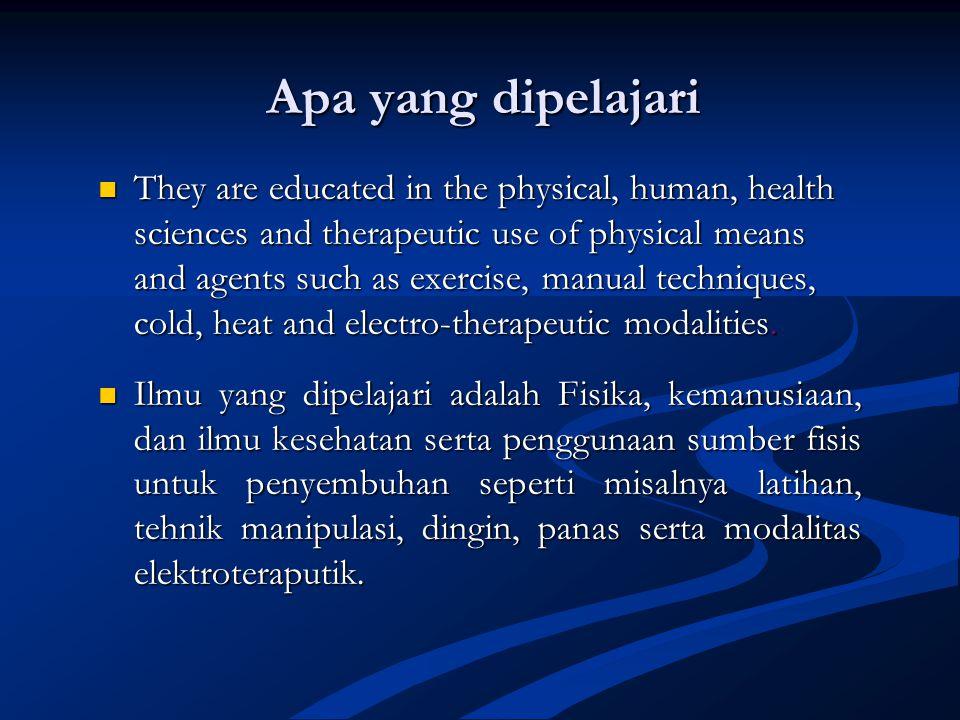  Ditujukan kepada perorangan dan masyarakat  Yang menjadi bidang garapan Fisioterapi adalah (maksimilisasi) Gerak dan (kemampuan) Fungsi  Lingkup p