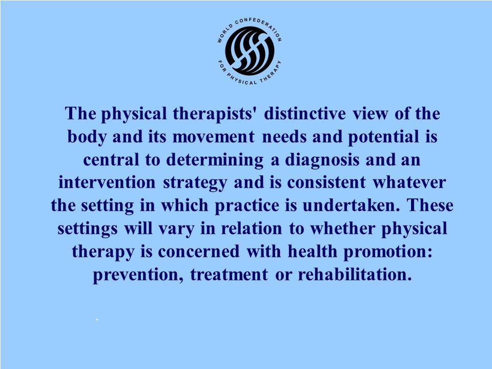  Fisioterapi mengenali dan memaksimalkan masalah potensi gerak yang berhubungan dengan lingkup promosi, preventif, penyembuhan dan pemulihan.  Fisio