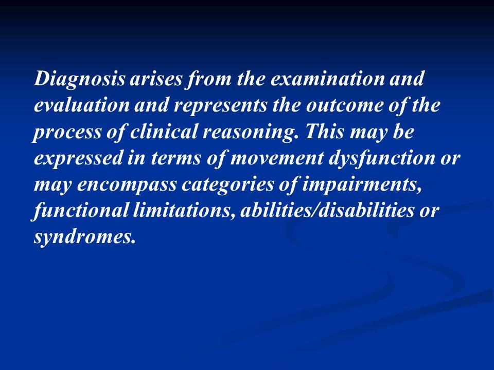 Asesmen termasuk pemeriksaan dan evaluasi pada perorangan atau kelompok, nyata atau yang berpotensi untuk terjadi kelemahan, keterbatasan fungsi, keti