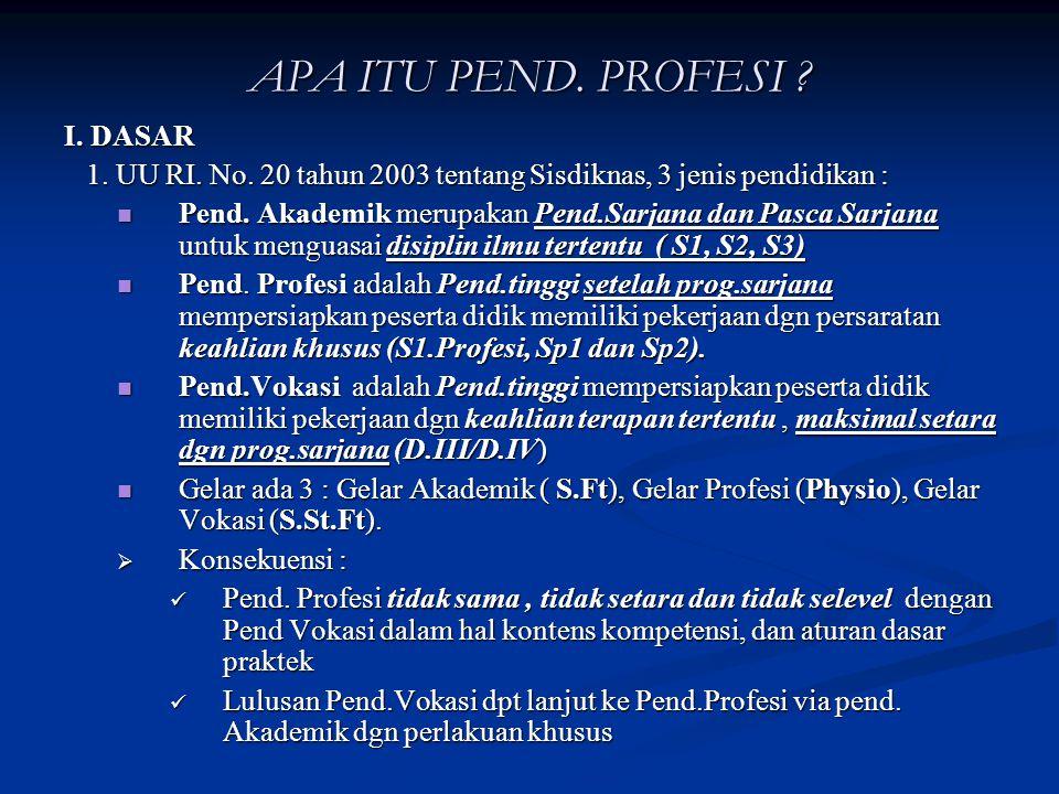 Program Pendidikan Profesi Fisioterapi dibawakan pada Konas IFI ke X dan TITAFI XXIII jakarta 21-23 Agustus 2008 oleh : Drs.Djohan Aras, S.Ft,Physio,