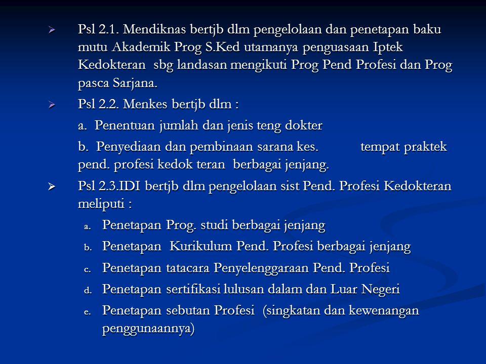 2. SKB Mendiknas – Menkessos No : 3/U/SKB/2001 dan No : 232/Menkes-Kesos/SKB/2oo1, ttg Pend.Profesi Kedokteran :  Psl 1.1. Mendiknas adlh Menteri yg