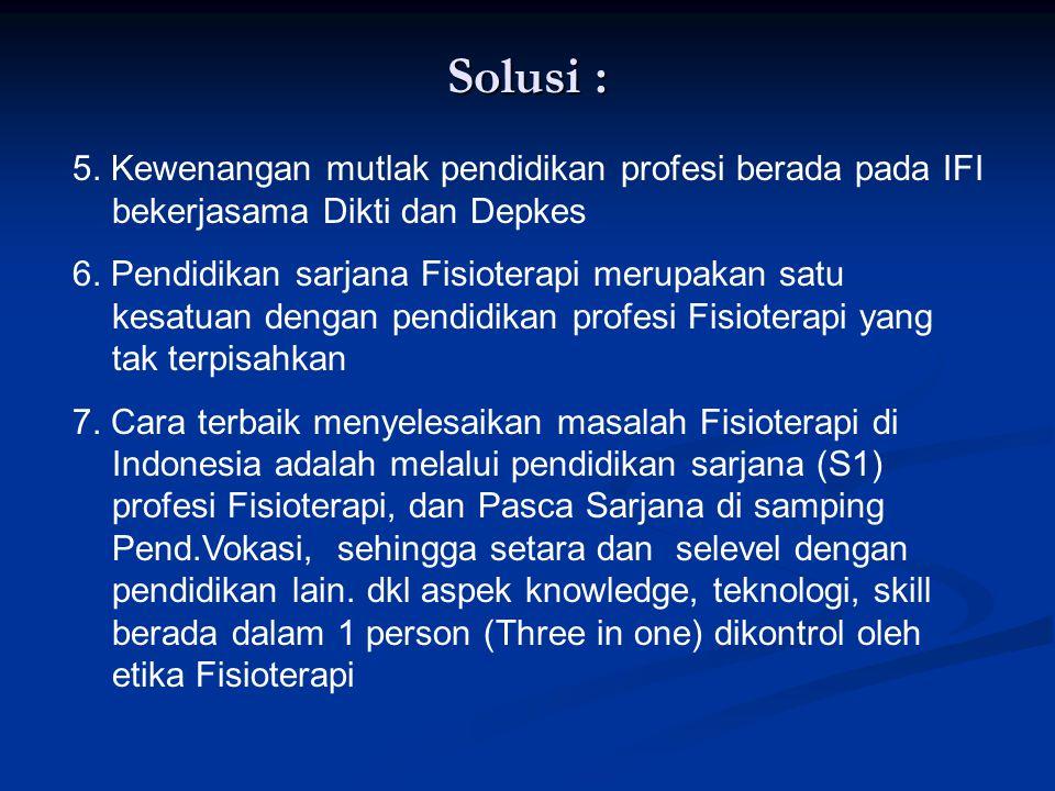 II. SOLUSI 1. IFI harus berbenah diri dan melakukan pembenahan agar seperti IDI – PPNI. Dalam pend.Profesi FT. 2. Regionalisasi pengembangan pendidika