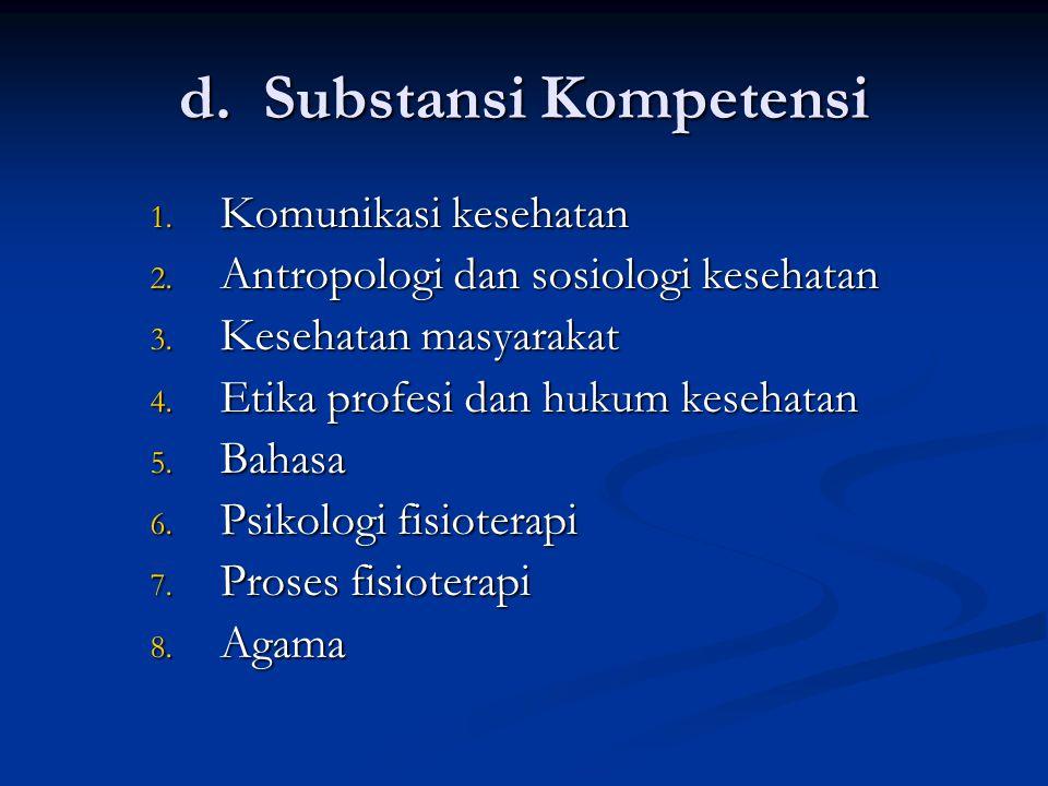 c. Komponen Kompetensi Menerapkan prinsip komunikasi dalam hal : Assessment, konseling, penjelasan berbagai prosedur, negosiasi pembuatan keputusan, p