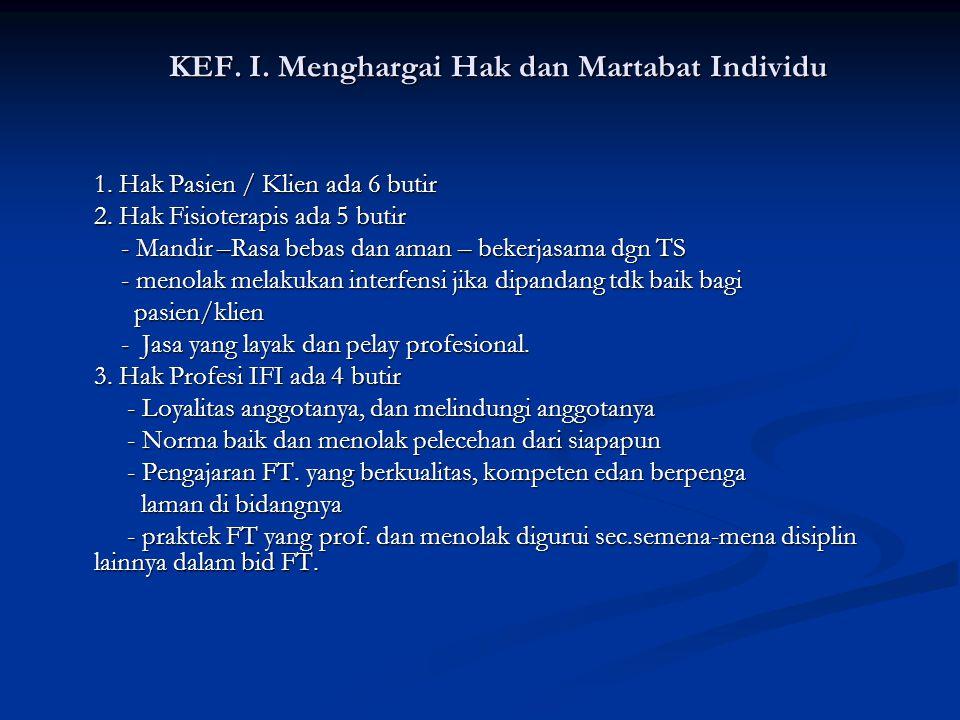 Kode etik Profesi Fisioterapi Tap.Konas IFI. VIII. Thn. 2003. ( 7 butir ) Kode etik Profesi Fisioterapi Tap.Konas IFI. VIII. Thn. 2003. ( 7 butir ) Pe