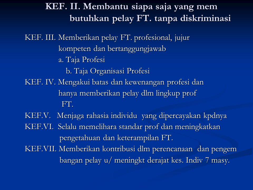 KEF. I. Menghargai Hak dan Martabat Individu KEF. I. Menghargai Hak dan Martabat Individu 1. Hak Pasien / Klien ada 6 butir 2. Hak Fisioterapis ada 5