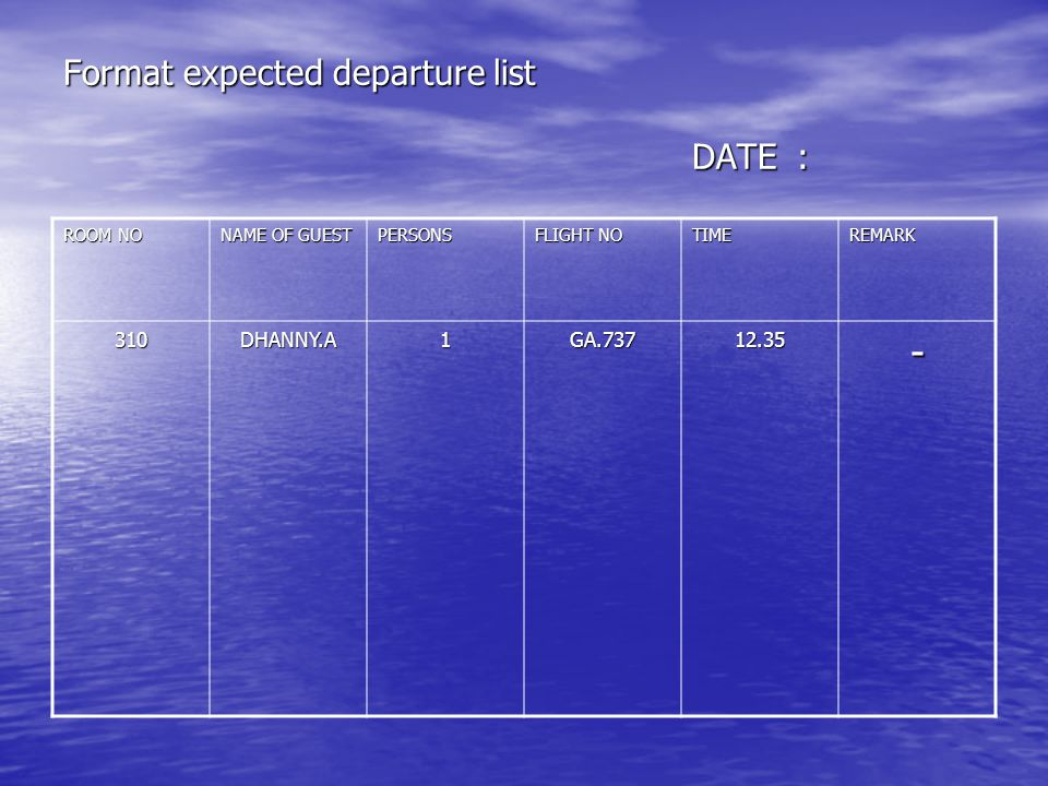 Format expected departure list DATE: ROOM NO NAME OF GUEST PERSONS FLIGHT NO TIMEREMARK 310DHANNY.A1GA.73712.35-