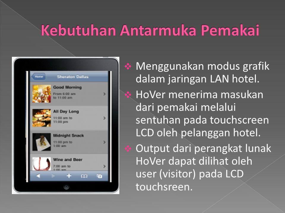  Menggunakan modus grafik dalam jaringan LAN hotel.  HoVer menerima masukan dari pemakai melalui sentuhan pada touchscreen LCD oleh pelanggan hotel.