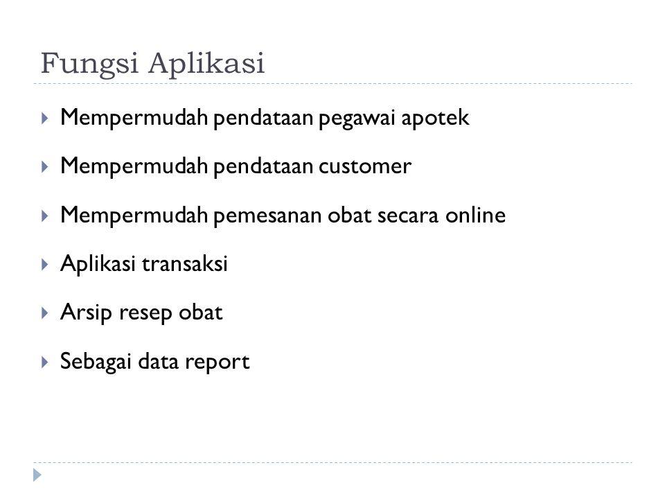 Fungsi Aplikasi  Mempermudah pendataan pegawai apotek  Mempermudah pendataan customer  Mempermudah pemesanan obat secara online  Aplikasi transaksi  Arsip resep obat  Sebagai data report