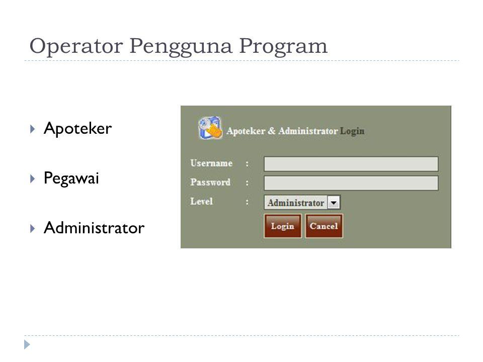 Operator Pengguna Program  Apoteker  Pegawai  Administrator