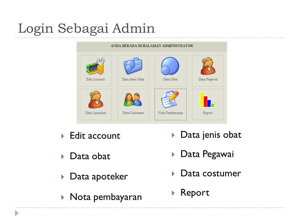 Login Sebagai Pegawai  Edit Account  Data obat  Data costumer  Report  Data jenis obat  Data apoteker  Transaksi penjualan