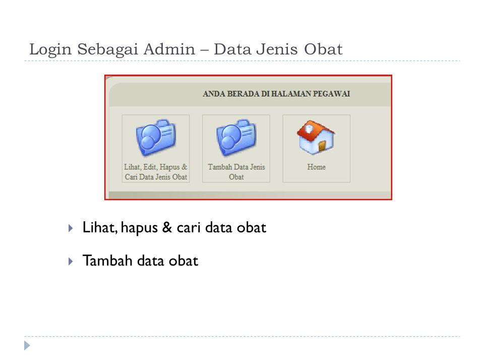 Login Sebagai Admin – Data Jenis Obat  Tambah Data Jenis Obat  Edit Data Jenis Obat