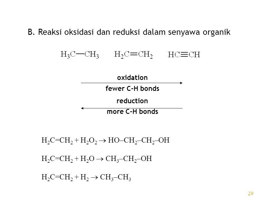 29 B. Reaksi oksidasi dan reduksi dalam senyawa organik oxidation fewer C-H bonds reduction more C-H bonds H 2 C=CH 2 + H 2 O 2  HO–CH 2 –CH 2 –OH H