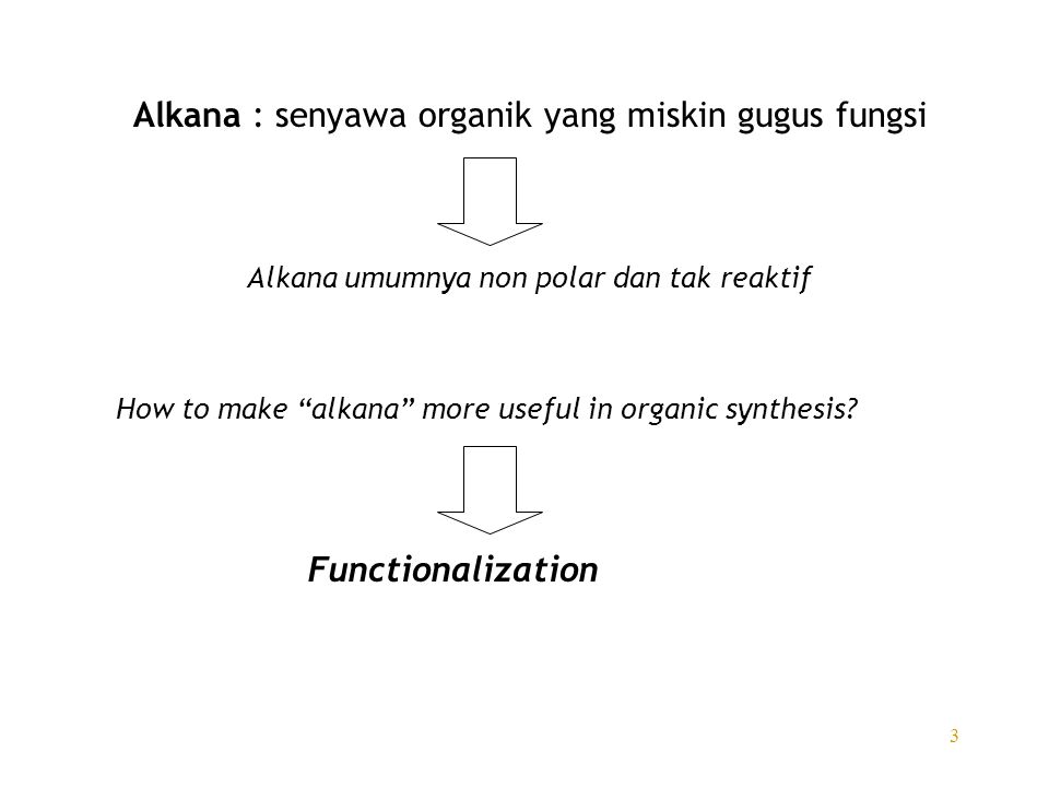 "3 Alkana : senyawa organik yang miskin gugus fungsi How to make ""alkana"" more useful in organic synthesis? Functionalization Alkana umumnya non polar"