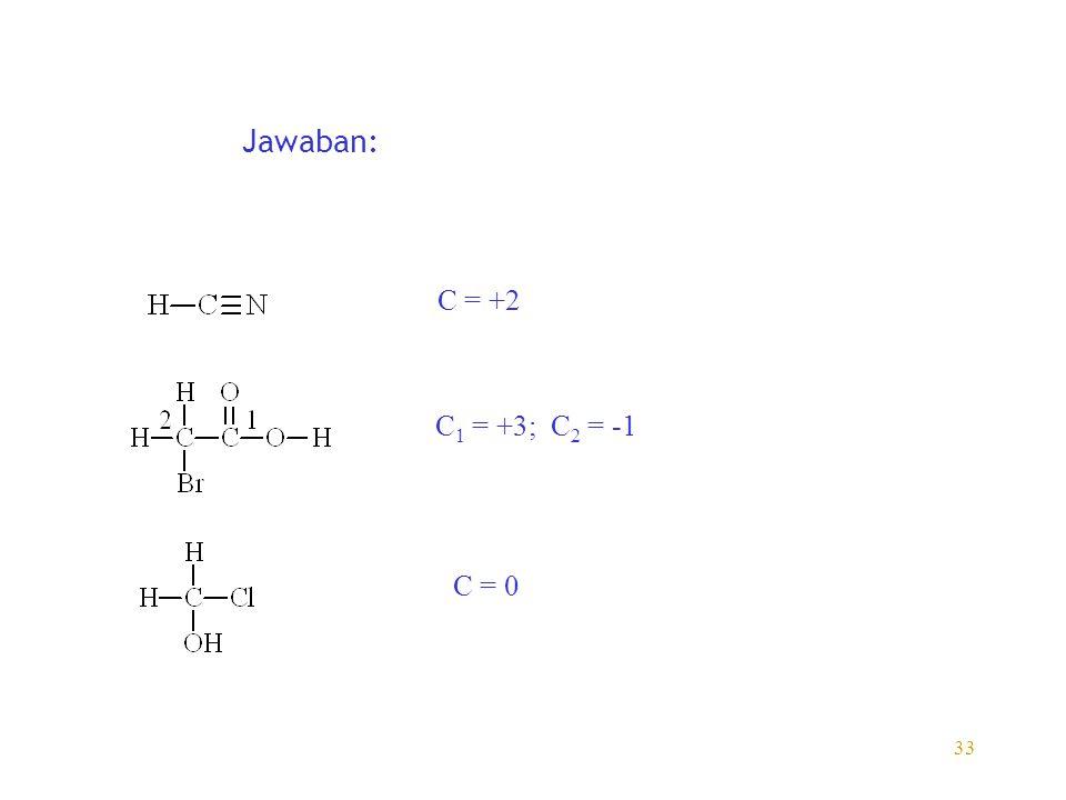33 Jawaban: C = +2 C 1 = +3; C 2 = -1 C = 0