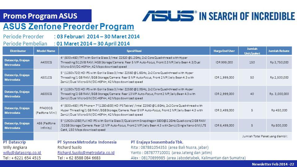 Newsletter Des 2013 -22 Newsletter Feb 2014 -22 Promo Program ASUS DistributorModel NameSpesifikasiHarga End User Jumlah Unit/paket Jumlah Rebate Data