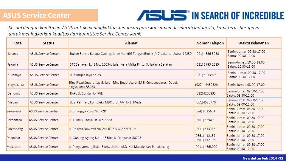 Newsletter Des 2013 -32 Newsletter Feb 2014 -32 Sesuai dengan komitmen ASUS untuk meningkatkan kepuasan para konsumen di seluruh Indonesia, kami terus berupaya untuk meningkatkan kualitas dan kuantitas Service Center kami: KotaStatusAlamatNomor TeleponWaktu Pelayanan JakartaASUS Service CenterRukan Sentra Kelapa Gading, Jalan Mandiri Tengah Blok M/I-7, Jakarta Utara–14250(021) 4586 5050 Senin–Jumat: 09:30-17:00 Sabtu: 09:30-12:00 JakartaASUS Service CenterSTC Senayan Lt.