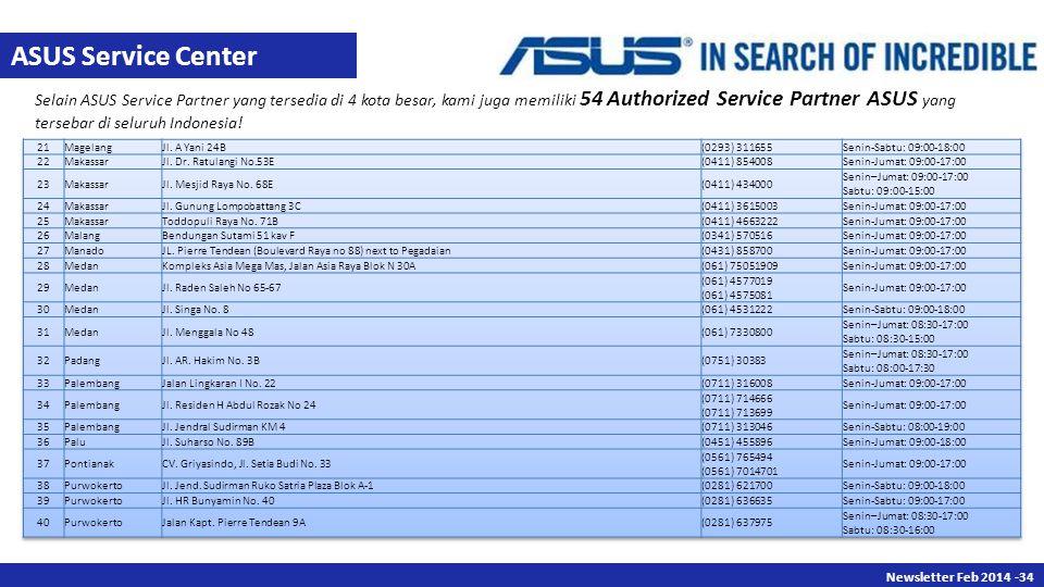 Newsletter Des 2013 -34 Newsletter Feb 2014 -34 Selain ASUS Service Partner yang tersedia di 4 kota besar, kami juga memiliki 54 Authorized Service Partner ASUS yang tersebar di seluruh Indonesia.