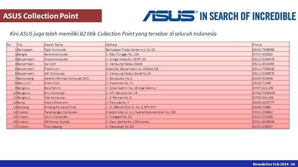 Newsletter Des 2013 -36 Newsletter Feb 2014 -36 Kini ASUS juga telah memiliki 82 titik Collection Point yang tersebar di seluruh Indonesia ASUS Collection Point