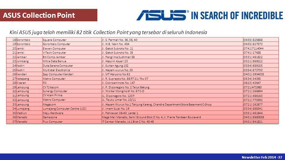 Newsletter Des 2013 -37 Newsletter Feb 2014 -37 Kini ASUS juga telah memiliki 82 titik Collection Point yang tersebar di seluruh Indonesia ASUS Collection Point