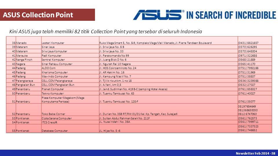 Newsletter Des 2013 -38 Newsletter Feb 2014 -38 Kini ASUS juga telah memiliki 82 titik Collection Point yang tersebar di seluruh Indonesia ASUS Collection Point