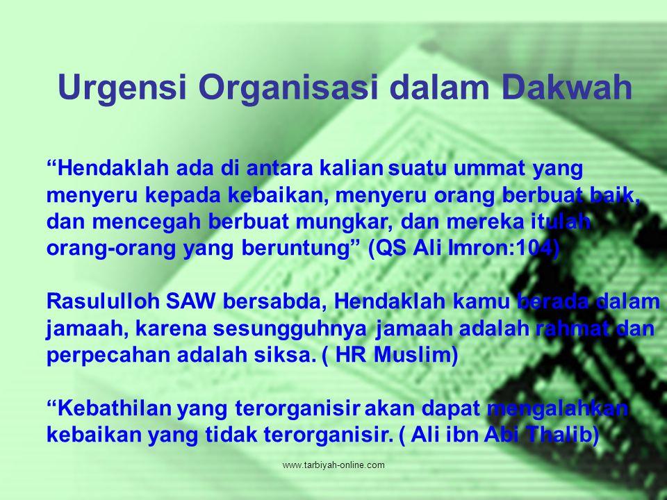 """Urgensi Organisasi dalam Dakwah """"Hendaklah ada di antara kalian suatu ummat yang menyeru kepada kebaikan, menyeru orang berbuat baik, dan mencegah ber"""