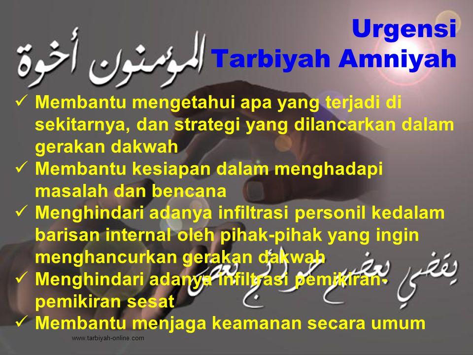 Urgensi Tarbiyah Amniyah Membantu mengetahui apa yang terjadi di sekitarnya, dan strategi yang dilancarkan dalam gerakan dakwah Membantu kesiapan dala