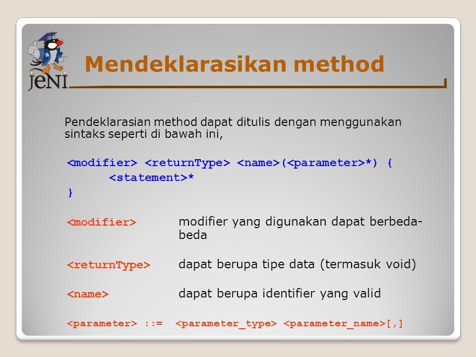 Mendeklarasikan method Pendeklarasian method dapat ditulis dengan menggunakan sintaks seperti di bawah ini, ( *) { * } modifier yang digunakan dapat b