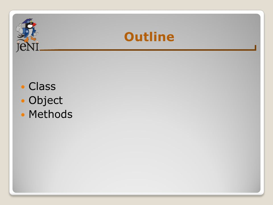 Outline Class Object Methods
