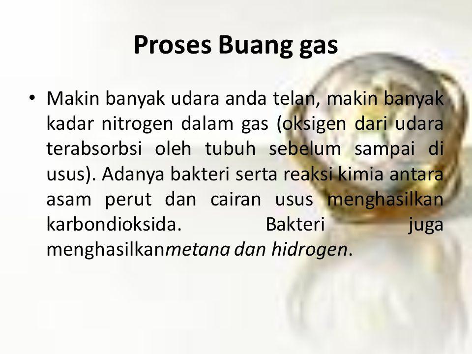 Proses Buang gas Makin banyak udara anda telan, makin banyak kadar nitrogen dalam gas (oksigen dari udara terabsorbsi oleh tubuh sebelum sampai di usus).