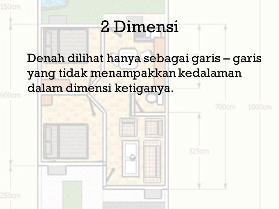 2 Dimensi Denah dilihat hanya sebagai garis – garis yang tidak menampakkan kedalaman dalam dimensi ketiganya.