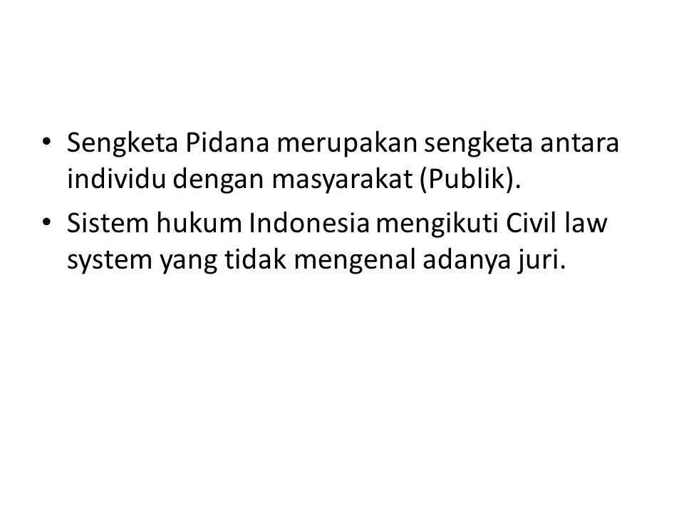 Sengketa Pidana merupakan sengketa antara individu dengan masyarakat (Publik).