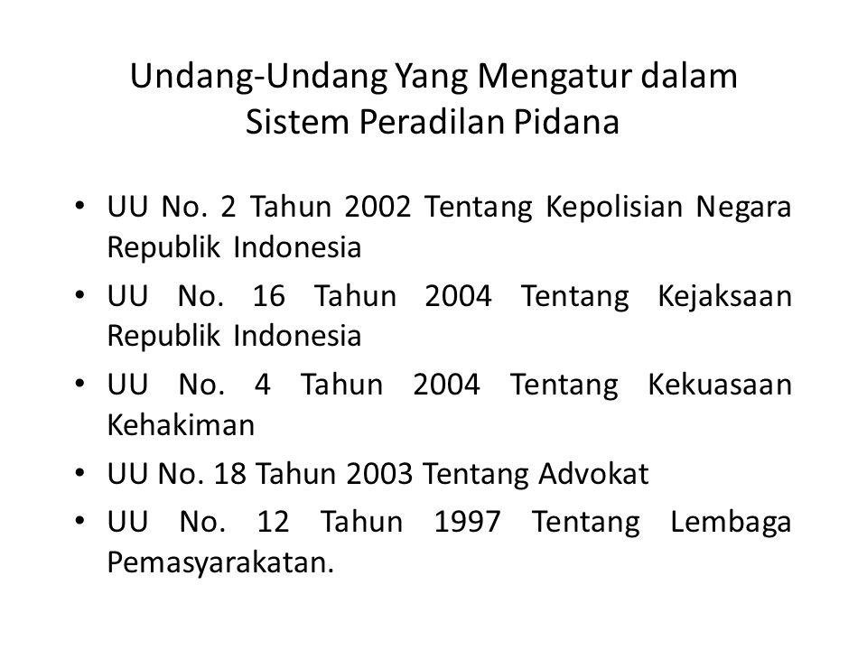 Undang-Undang Yang Mengatur dalam Sistem Peradilan Pidana UU No.