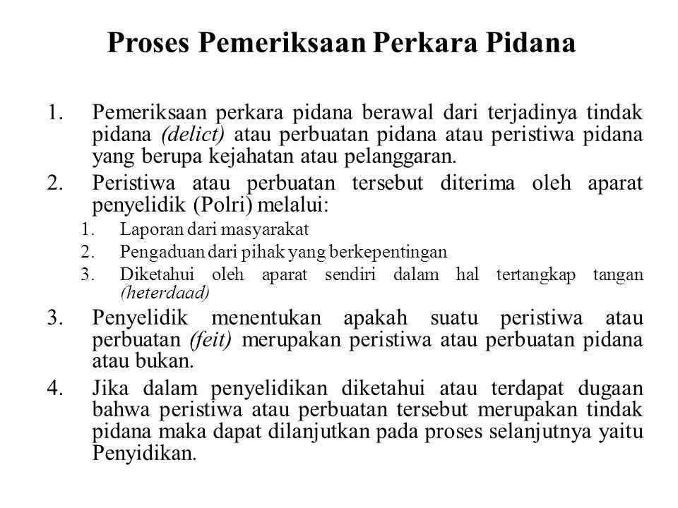 Proses Pemeriksaan Perkara Pidana 1.Pemeriksaan perkara pidana berawal dari terjadinya tindak pidana (delict) atau perbuatan pidana atau peristiwa pidana yang berupa kejahatan atau pelanggaran.