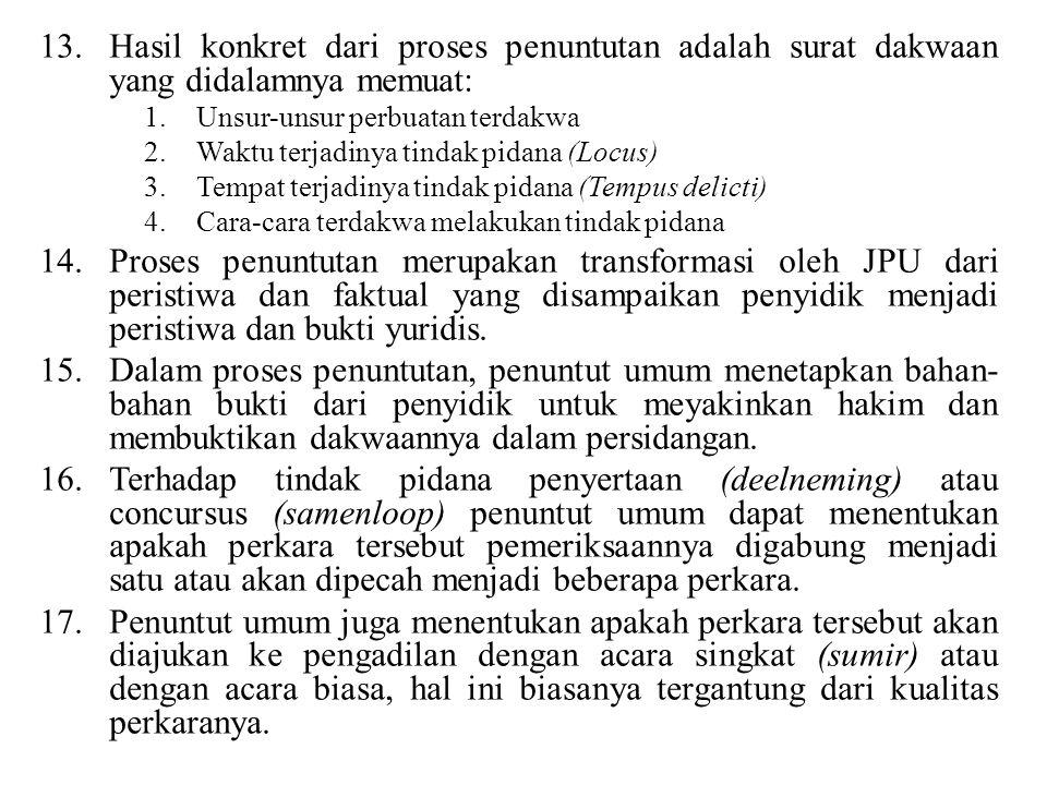 13.Hasil konkret dari proses penuntutan adalah surat dakwaan yang didalamnya memuat: 1.Unsur-unsur perbuatan terdakwa 2.Waktu terjadinya tindak pidana (Locus) 3.Tempat terjadinya tindak pidana (Tempus delicti) 4.Cara-cara terdakwa melakukan tindak pidana 14.Proses penuntutan merupakan transformasi oleh JPU dari peristiwa dan faktual yang disampaikan penyidik menjadi peristiwa dan bukti yuridis.