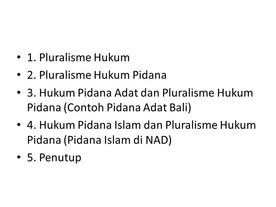 1.Pluralisme Hukum 2. Pluralisme Hukum Pidana 3.