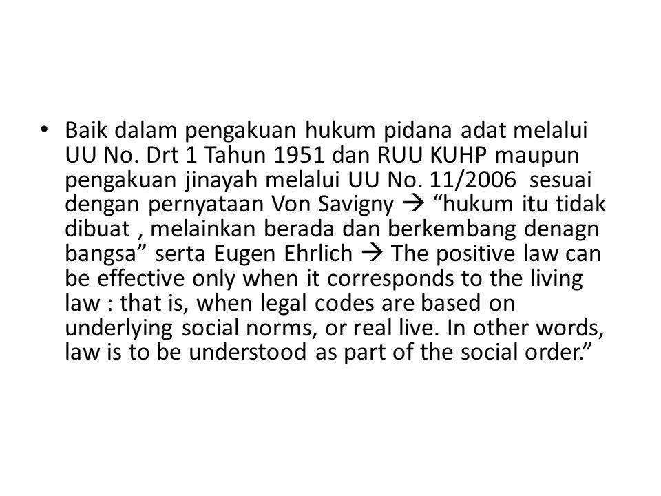 Baik dalam pengakuan hukum pidana adat melalui UU No.