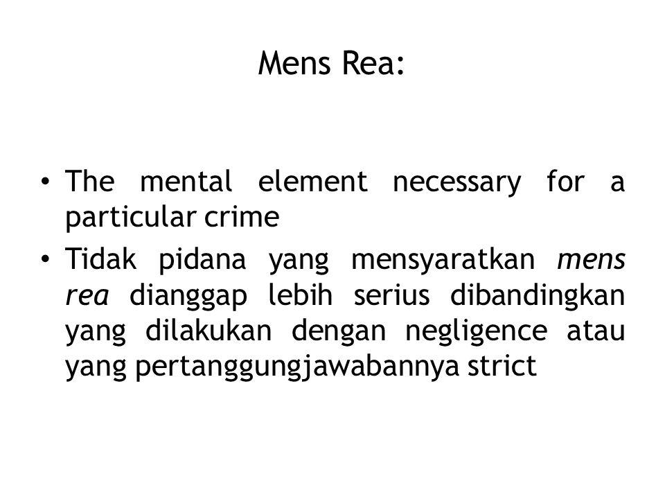 Mens Rea: The mental element necessary for a particular crime Tidak pidana yang mensyaratkan mens rea dianggap lebih serius dibandingkan yang dilakukan dengan negligence atau yang pertanggungjawabannya strict