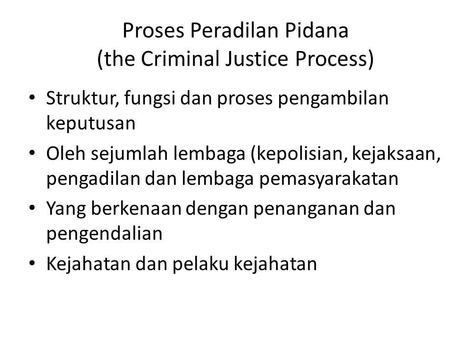 Proses Peradilan Pidana (the Criminal Justice Process) Struktur, fungsi dan proses pengambilan keputusan Oleh sejumlah lembaga (kepolisian, kejaksaan, pengadilan dan lembaga pemasyarakatan Yang berkenaan dengan penanganan dan pengendalian Kejahatan dan pelaku kejahatan