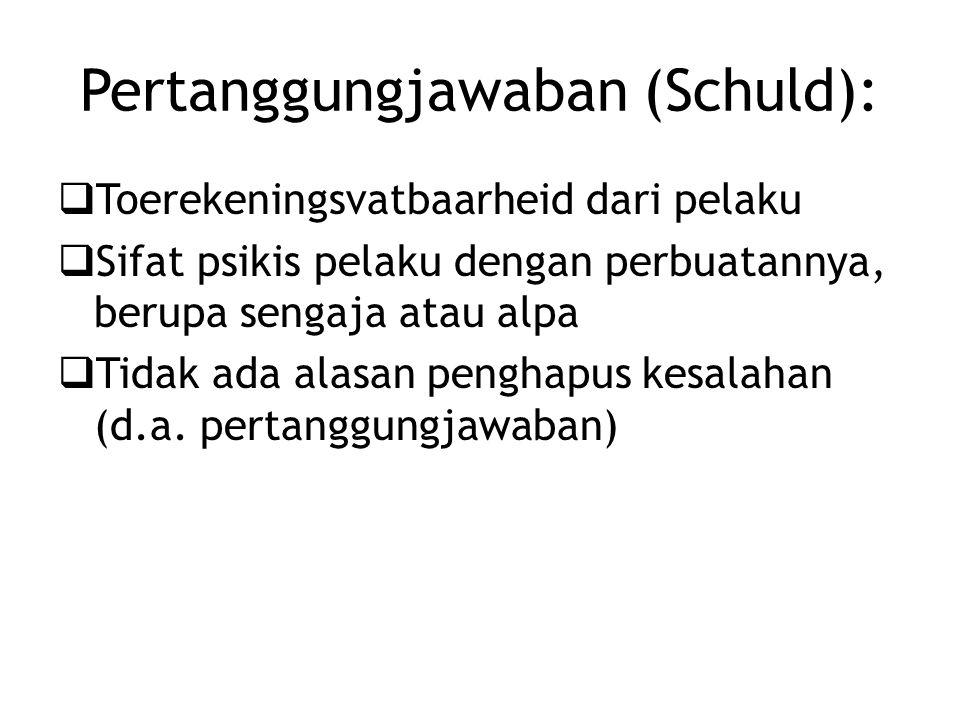 Pertanggungjawaban (Schuld):  Toerekeningsvatbaarheid dari pelaku  Sifat psikis pelaku dengan perbuatannya, berupa sengaja atau alpa  Tidak ada alasan penghapus kesalahan (d.a.