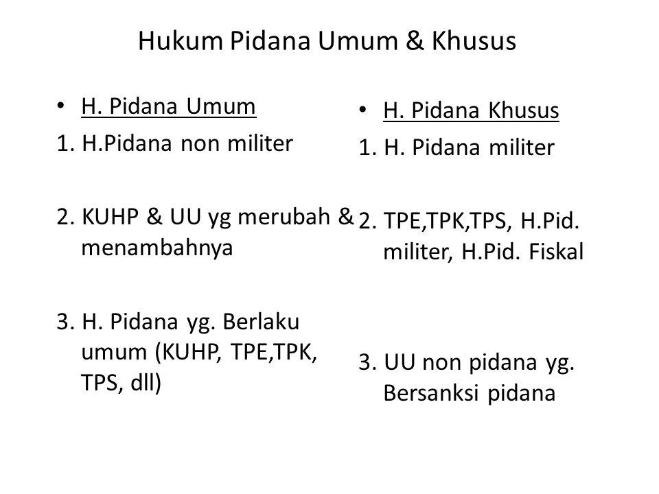 Hukum Pidana Umum & Khusus H.Pidana Umum 1. H.Pidana non militer 2.