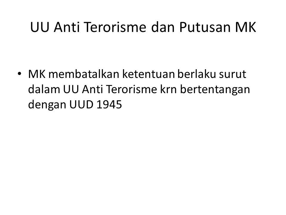 UU Anti Terorisme dan Putusan MK MK membatalkan ketentuan berlaku surut dalam UU Anti Terorisme krn bertentangan dengan UUD 1945