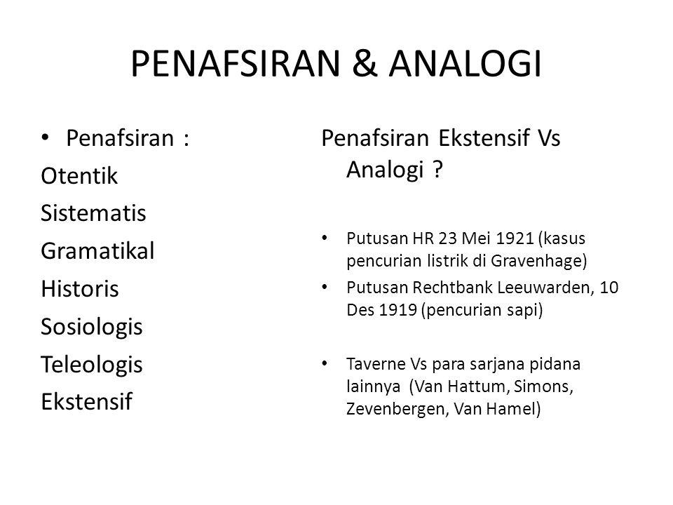 PENAFSIRAN & ANALOGI Penafsiran : Otentik Sistematis Gramatikal Historis Sosiologis Teleologis Ekstensif Penafsiran Ekstensif Vs Analogi .