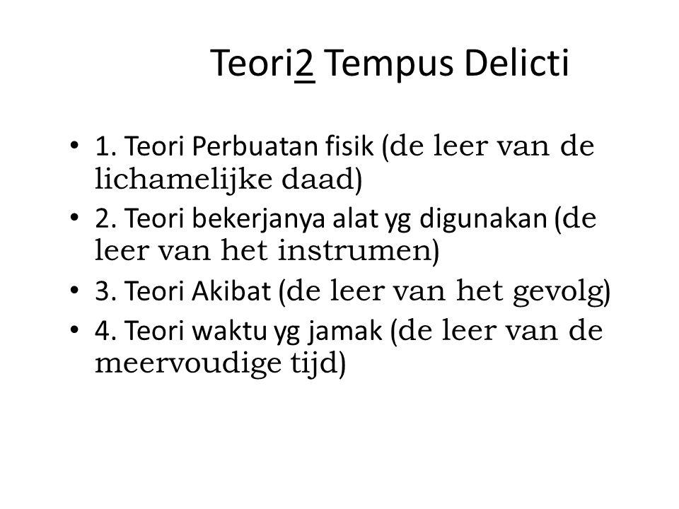 Teori2 Tempus Delicti 1.Teori Perbuatan fisik (de leer van de lichamelijke daad) 2.