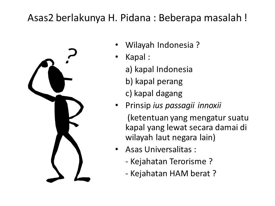 Asas2 berlakunya H.Pidana : Beberapa masalah . Wilayah Indonesia .
