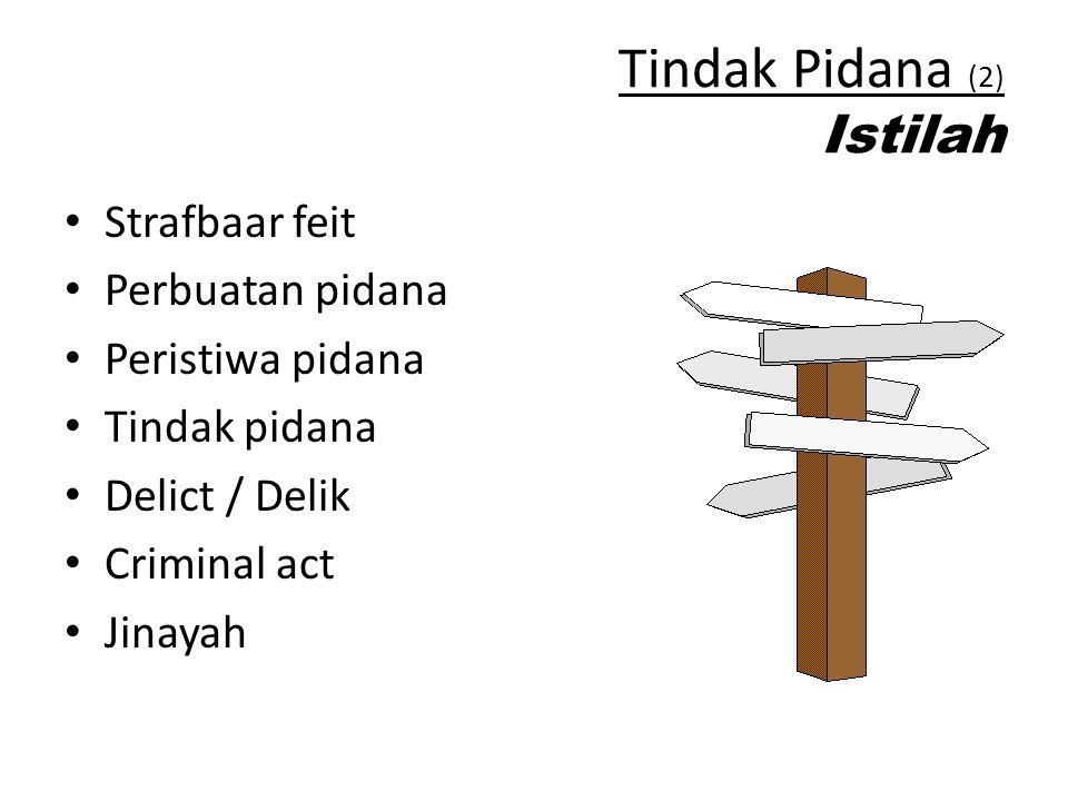 Tindak Pidana (2) Istilah Strafbaar feit Perbuatan pidana Peristiwa pidana Tindak pidana Delict / Delik Criminal act Jinayah
