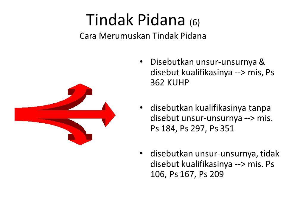 Tindak Pidana (6) Cara Merumuskan Tindak Pidana Disebutkan unsur-unsurnya & disebut kualifikasinya --> mis, Ps 362 KUHP disebutkan kualifikasinya tanpa disebut unsur-unsurnya --> mis.