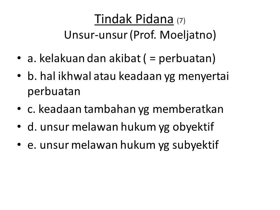 Tindak Pidana (7) Unsur-unsur (Prof.Moeljatno) a.